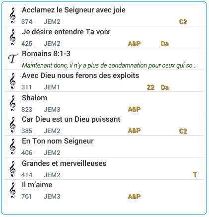 Exemple d'une Liste de Louange